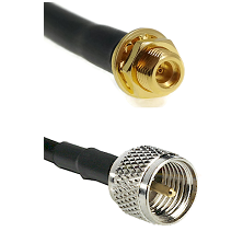 MMCX Female Bulkhead on LMR100 to Mini-UHF Male Cable Assembly