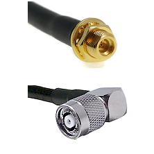MMCX Female Bulkhead on LMR100 to TNC Reverse Polarity Right Angle Male Cable Assembly