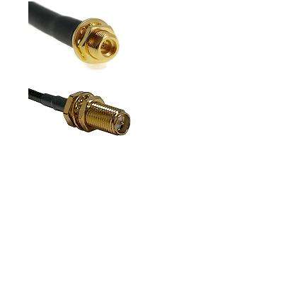 MMCX Female Bulkhead on LMR100 to SMA Reverse Polarity Female Bulkhead Cable Assembly