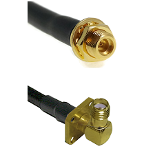 MMCX Female Bulkhead on LMR100 to SMA 4 Hole Right Angle Female Cable Assembly