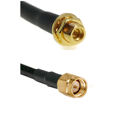 MMCX Female Bulkhead on LMR100 to SMA Reverse Thread Male Cable Assembly