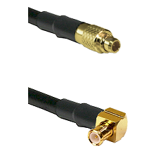 MMCX Male on LMR100 to MCX Right Angle Male Cable Assembly