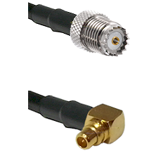 Mini-UHF Female on LMR100 to MMCX Right Angle Male Cable Assembly