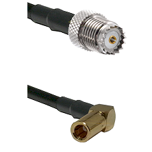 Mini-UHF Female on LMR100 to SLB Right Angle Female Cable Assembly