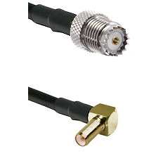 Mini-UHF Female on LMR100 to SLB Right Angle Male Cable Assembly