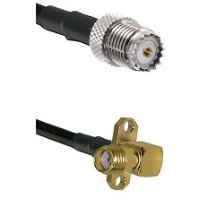 Mini-UHF Female on LMR100 to SMA 2 Hole Right Angle Female Cable Assembly