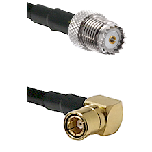 Mini-UHF Female on LMR100/U to SMB Right Angle Female Cable Assembly