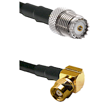 Mini-UHF Female on LMR100 to SMC Right Angle Female Cable Assembly