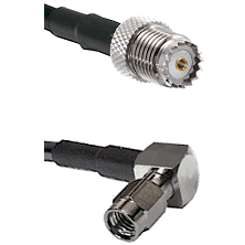 Mini-UHF Female on LMR100 to SSMA Right Angle Male Cable Assembly
