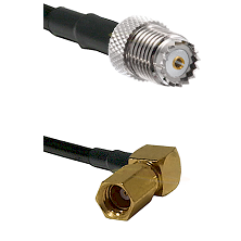 Mini-UHF Female on LMR100 to SSMC Right Angle Female Cable Assembly
