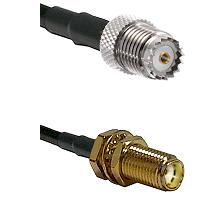 Mini-UHF Female on LMR100 to SMA Female Bulkhead Cable Assembly
