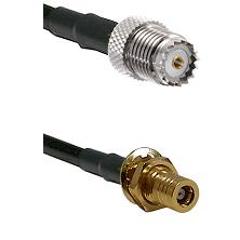 Mini-UHF Female on LMR100 to SSLB Female Bulkhead Cable Assembly