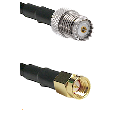 Mini-UHF Female on LMR100 to SSMA Male Cable Assembly