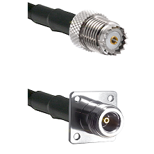 Mini-UHF Female on LMR-195-UF UltraFlex to N 4 Hole Female Cable Assembly