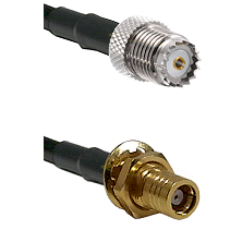 Mini-UHF Female on LMR195 to SMB Female Bulkhead Cable Assembly