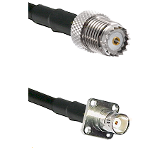 Mini-UHF Female on LMR200 UltraFlex to BNC 4 Hole Female Cable Assembly