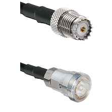 Mini-UHF Female on RG142 to 7/16 Din Female Cable Assembly