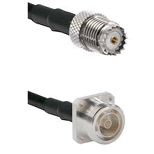 Mini-UHF Female on RG142 to 7/16 4 Hole Female Cable Assembly