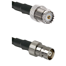 Mini-UHF Female on RG142 to C Female Cable Assembly