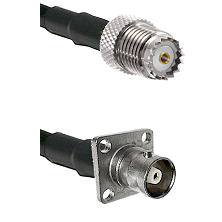 Mini-UHF Female on RG142 to C 4 Hole Female Cable Assembly