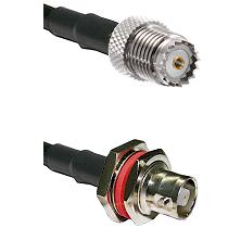 Mini-UHF Female on RG142 to C Female Bulkhead Cable Assembly