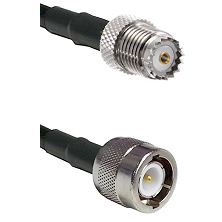 Mini-UHF Female on RG142 to C Male Cable Assembly