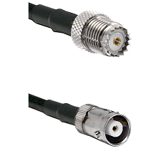 Mini-UHF Female on RG142 to MHV Female Cable Assembly