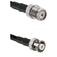 Mini-UHF Female on RG142 to MHV Male Cable Assembly