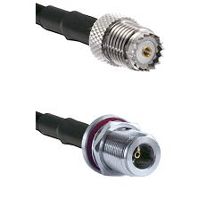 Mini-UHF Female on RG142 to N Female Bulkhead Cable Assembly