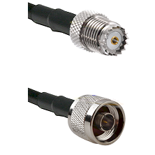 Mini-UHF Female on RG142 to N Male Cable Assembly