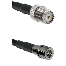 Mini-UHF Female on RG142 to QMA Male Cable Assembly