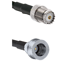 Mini-UHF Female on RG142 to QN Male Cable Assembly