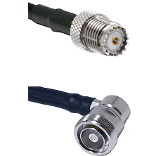 Mini-UHF Female on RG142 to 7/16 Din Right Angle Female Cable Assembly