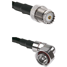 Mini-UHF Female on RG142 to 7/16 Din Right Angle Male Cable Assembly