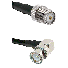 Mini-UHF Female on RG142 to BNC Right Angle Male Cable Assembly