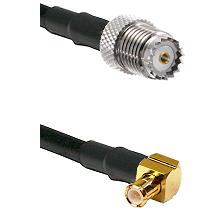 Mini-UHF Female on RG142 to MCX Right Angle Male Cable Assembly