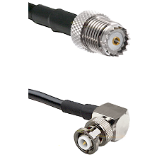 Mini-UHF Female on RG142 to MHV Right Angle Male Cable Assembly