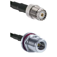Mini-UHF Female on RG142 to N Reverse Polarity Female Bulkhead Cable Assembly