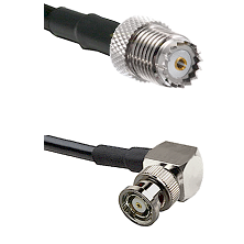 Mini-UHF Female on RG142 to BNC Reverse Polarity Right Angle Male Cable Assembly