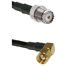 Mini-UHF Female on RG142 to SMA Reverse Polarity Right Angle Male Cable Assembly