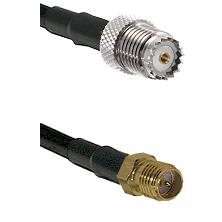 Mini-UHF Female on RG142 to SMA Reverse Polarity Female Cable Assembly
