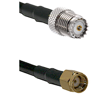 Mini-UHF Female on RG142 to SMA Reverse Polarity Male Cable Assembly