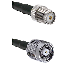 Mini-UHF Female on RG142 to TNC Reverse Polarity Male Cable Assembly