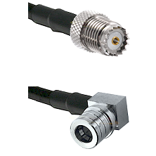 Mini-UHF Female on RG142 to QMA Right Angle Male Cable Assembly