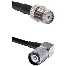 Mini-UHF Female on RG142 to SC Right Angle Male Cable Assembly