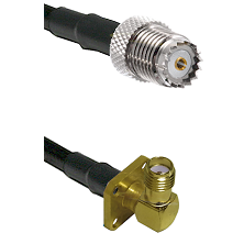 Mini-UHF Female on RG142 to SMA 4 Hole Right Angle Female Cable Assembly