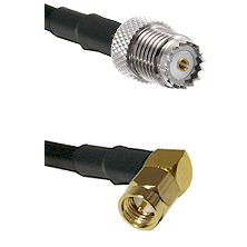 Mini-UHF Female on RG142 to SMA Right Angle Male Cable Assembly