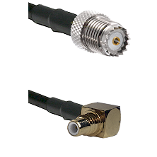 Mini-UHF Female on RG142 to SMC Right Angle Male Cable Assembly