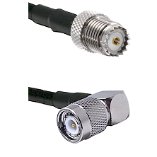 Mini-UHF Female on RG142 to TNC Right Angle Male Cable Assembly