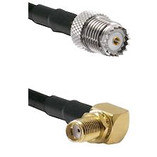 Mini-UHF Female on RG142 to SMA Reverse Thread Right Angle Female Bulkhead Cable Assembly